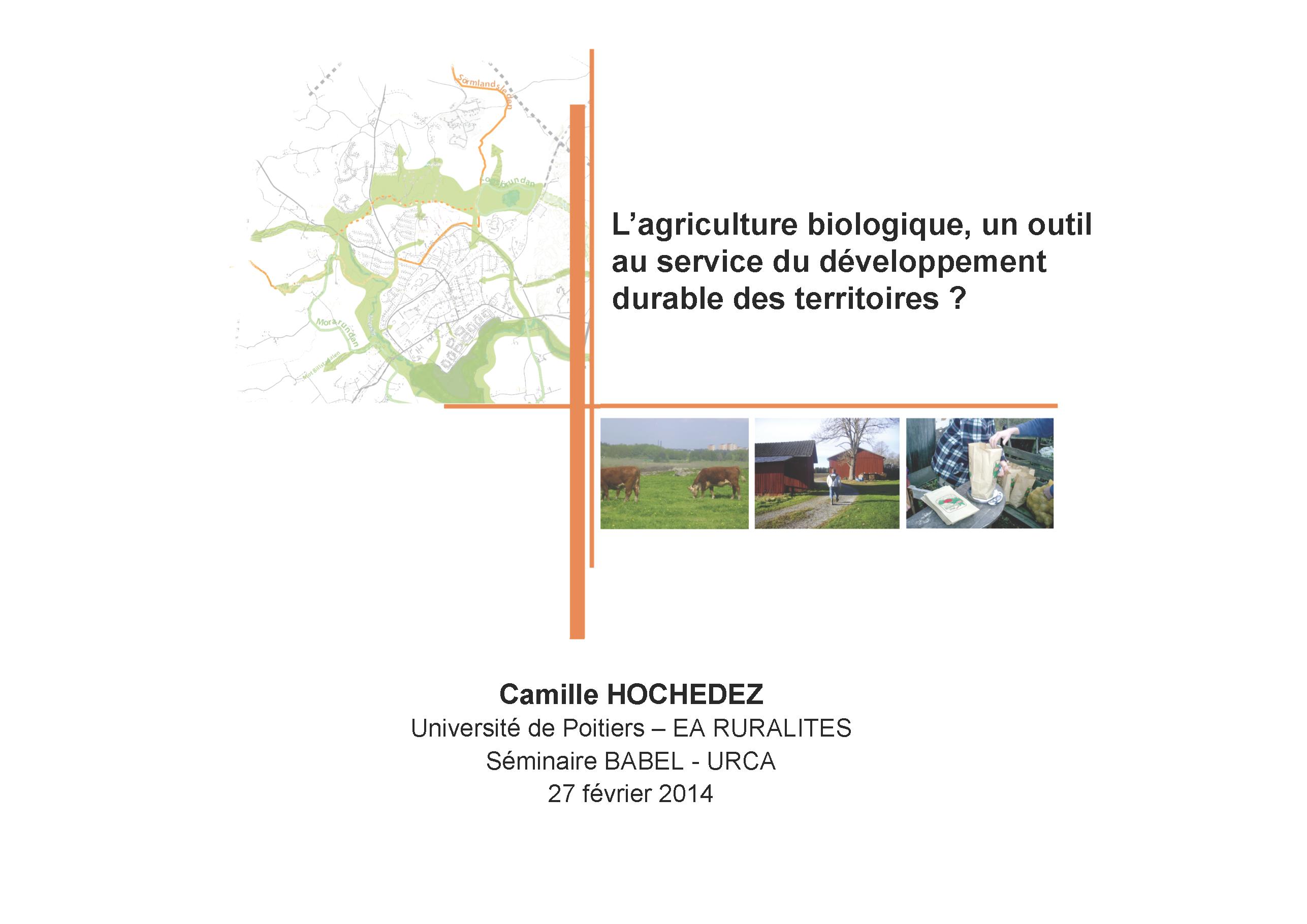 Présentation Hochedez - Agriculture biologique